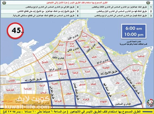 خريطة إستخدام حارة الأمان اليسرى في الكويت