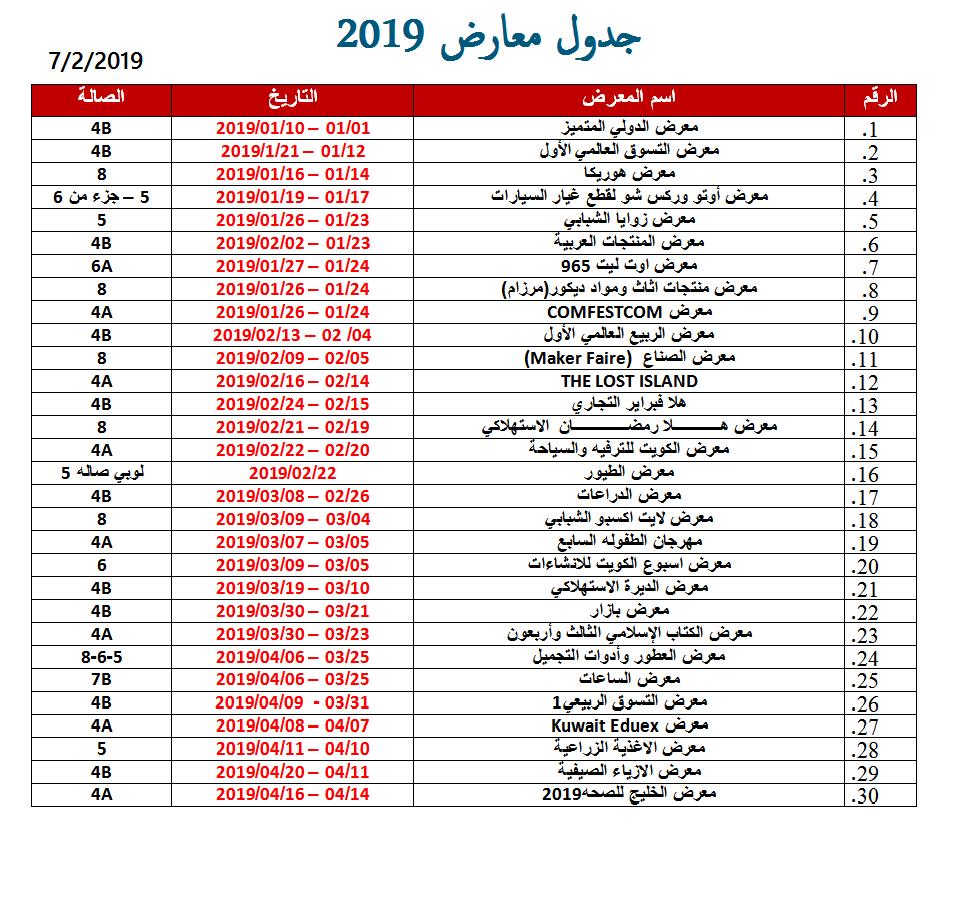 جدول المعارض في الكويت للعام 2019 - 1 من 3