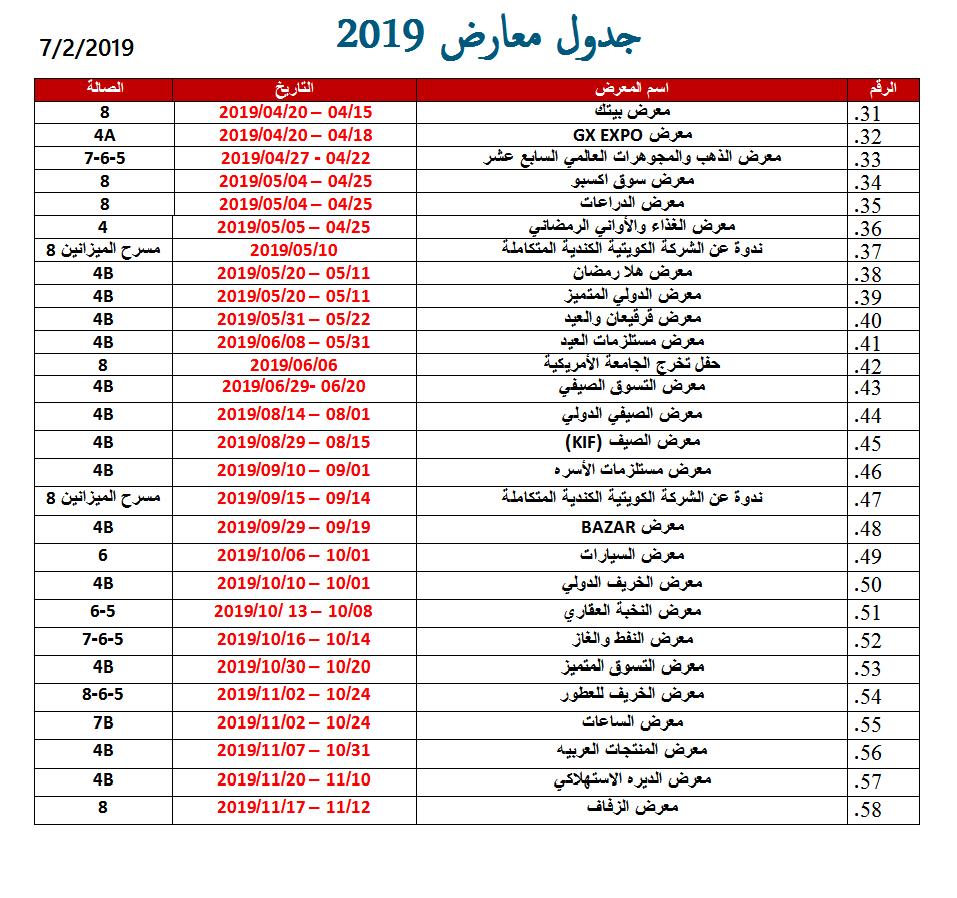 جدول المعارض للعام 2019 في الكويت صفحة 2 من 3