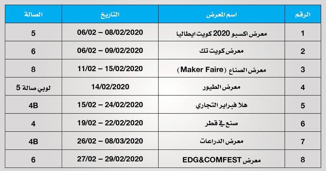 جدول معارض الكويت للعام 2020 في أرض المعارض
